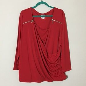 Just My Size Faux Wrap Blouse 3/4 Sleeve Red Sz 2X